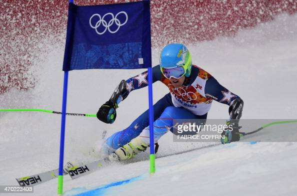 US skier Ted Ligety competes during the Men's Alpine Skiing Giant Slalom Run 1 at the Rosa Khutor Alpine Center during the Sochi Winter Olympics on...