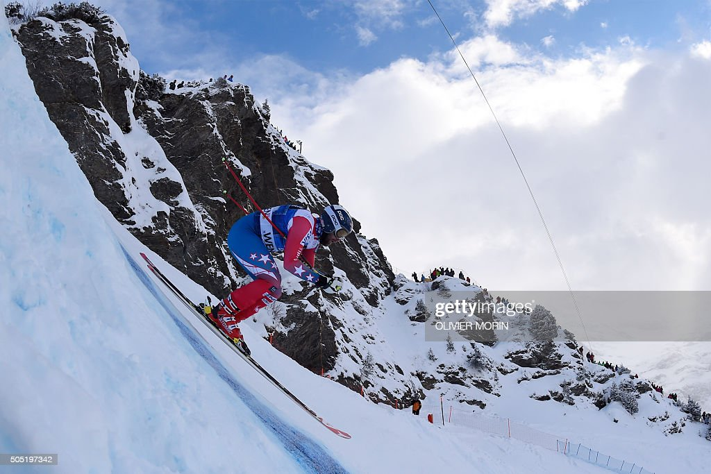 US skier Travis Ganong competes in the Alpine skiing FIS World Cup mens downhill event on January 16 2016 in Wengen AFP PHOTO / OLIVIER MORIN / AFP /...