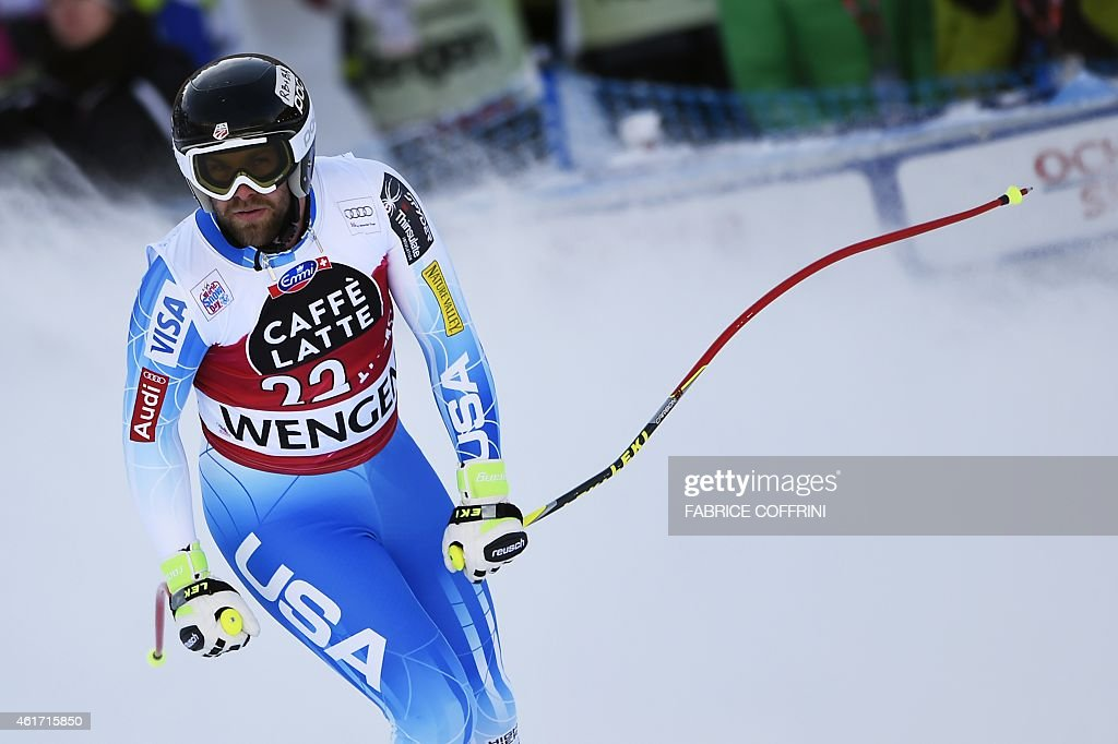 US skier <a gi-track='captionPersonalityLinkClicked' href=/galleries/search?phrase=Travis+Ganong&family=editorial&specificpeople=6176023 ng-click='$event.stopPropagation()'>Travis Ganong</a> reacts during the FIS Alpine Ski World Cup Men's Downhill in Wengen on January 18, 2015.