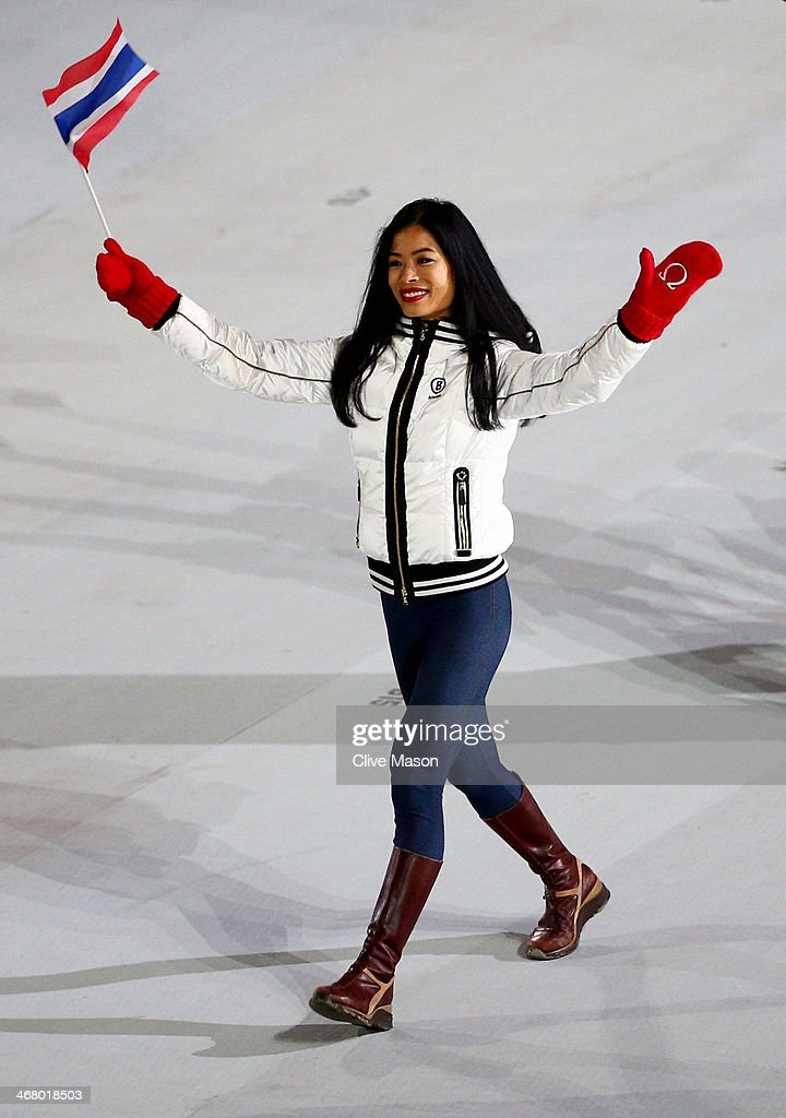 Skier Vanessa-Mae of Thailand waves to the crowd during the Opening Ceremony of the Sochi 2014 Winter Olympics at Fisht Olympic Stadium on February 7, 2014 in Sochi, Russia.