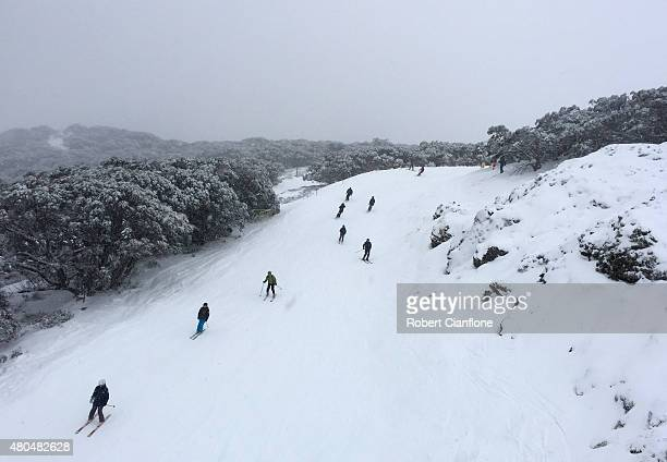 Skiers and snowboarders are seen on July 12 2015 in Mount Buller Australia
