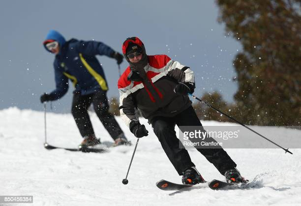 Skiers are seen on September 21 2017 in Mount Buller Australia Australians are enjoying one of the best ski seasons after the best snowfall in 17...