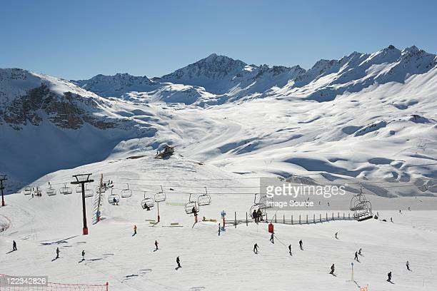 Skiers at Val d'Isere resort, France