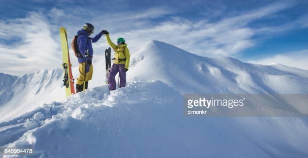 Skiers cheering