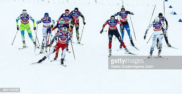 Skiers compete during the FIS Nordic World Ski Championships Men's and Women's CrossCountry Team Sprint on February 22 2015 in Falun Sweden