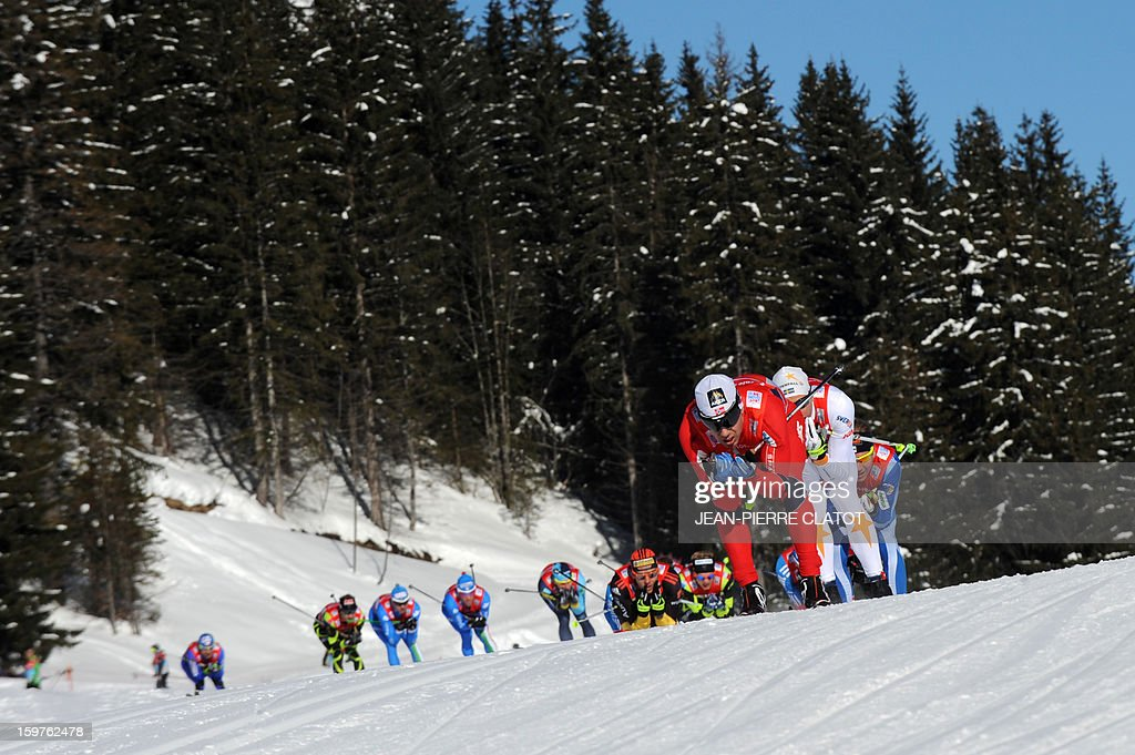 Skiers compete in the Nordic skiing combined World Cup relay (4 x 7,5 km) on January 20, 2013 in La Clusaz, eastern France.