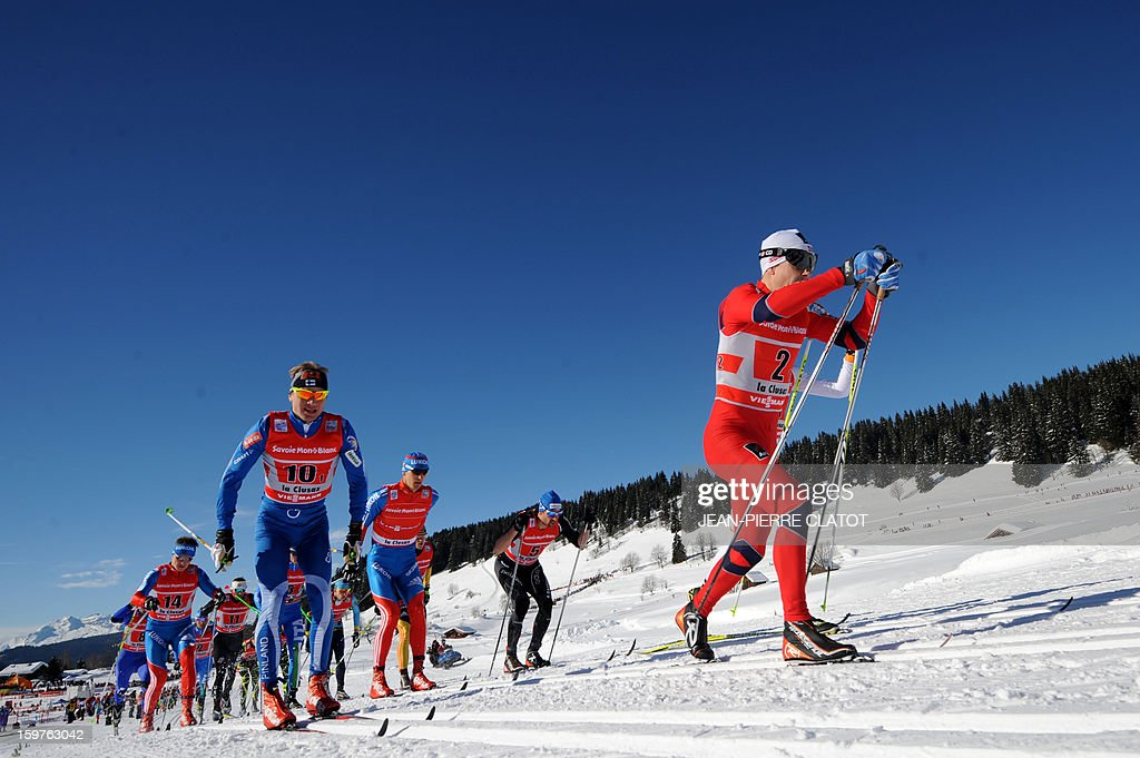 Skiers compete in the Nordic skiing combined World Cup relay (4 x 7,5 km) on January 20, 2013 in La Clusaz, eastern France. AFP PHOTO JEAN-PIERRE CLATOT