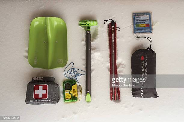 A skiers emergency and safety equipment is laid out on a ski touring up Hochplatte mountain on January 17 2017 near Achenkirch Austria Winter weather...
