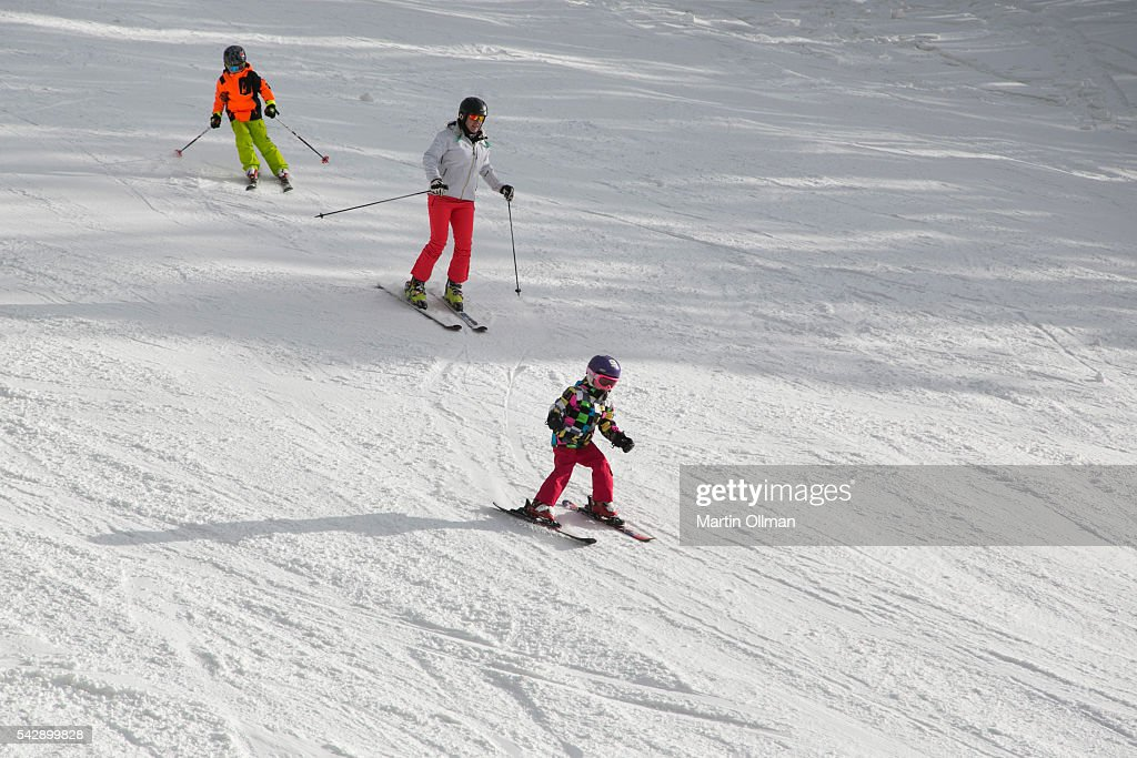 Skiers enjoy the fresh snowfall on the opening weekend of the season on June 25, 2016 in Thredbo Village Australia. Snow has been forecast across Eastern Australia as cold front continues to bring low temperatures, rain and potentially damaging winds.