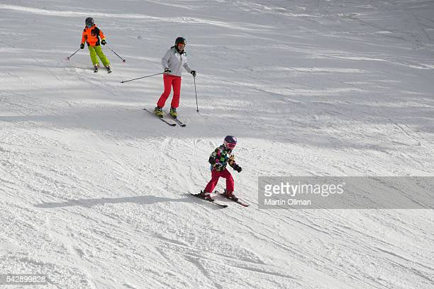 Skiers enjoy the fresh snowfall on the opening weekend of the season on June 25 2016 in Thredbo Village Australia Snow has been forecast across...