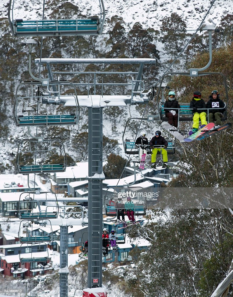 Skiers enjoy the opening weekend of the season on June 25, 2016 in Thredbo, Australia. Snow has been forecast across Eastern Australia as cold front continues to bring low temperatures, rain and potentially damaging winds.