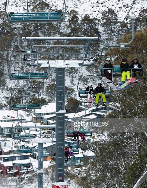 Skiers enjoy the opening weekend of the season on June 25 2016 in Thredbo Australia Snow has been forecast across Eastern Australia as cold front...