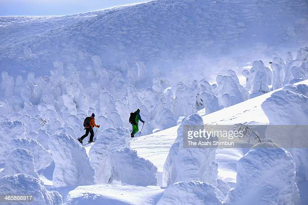 Skiers enjoy the scenery of ice coated trees at the Zao Onsen Ski Resort on January 30 2014 in Zao Yamagata Japan