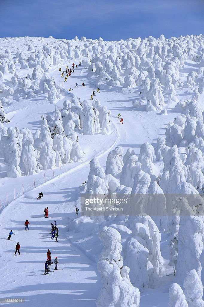 Skiers enjoy the scenery of ice coated trees at the Zao Onsen Ski Resort on January 30, 2014 in Zao, Yamagata, Japan.
