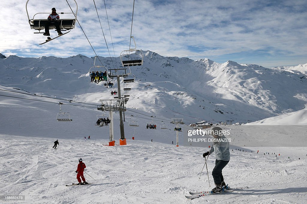 Skiers enjoy the ski runs on December 19, 2012, the French Alps resort of Val Thorens. Due to heavy snowfall, many resorts started opening on December 8 and 15, creating two more weeks of business for resorts before Christmas. Many operators are reporting strong bookings for the Christmas and New Year holidays.
