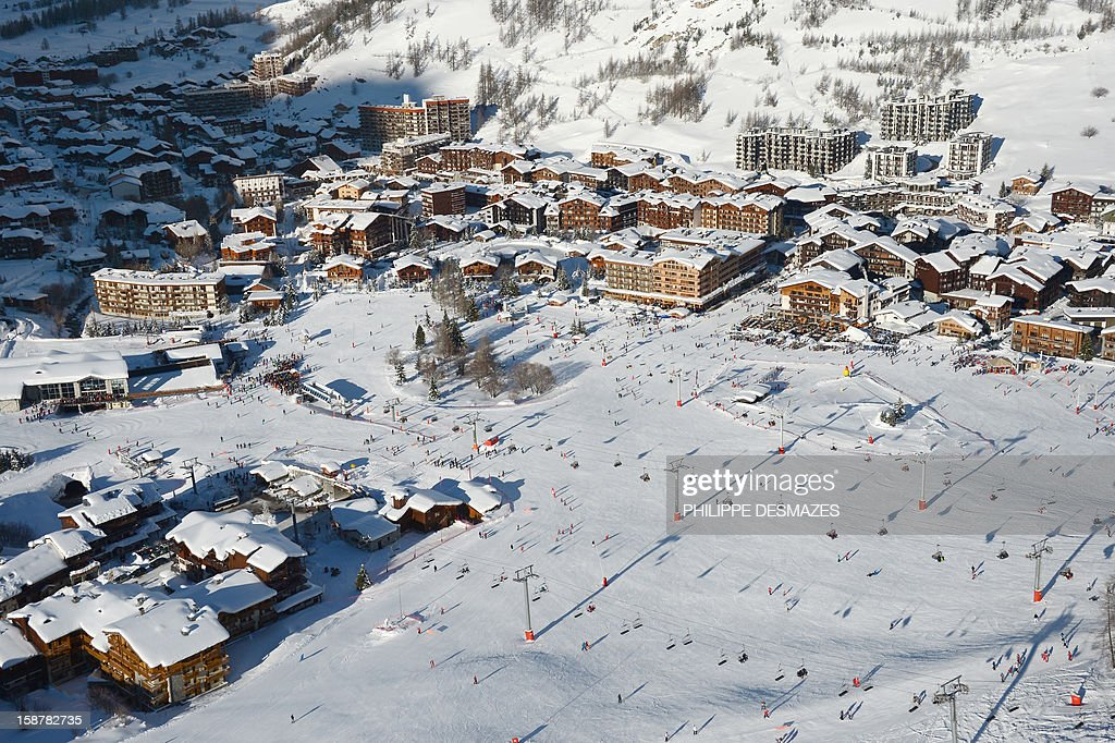 Skiers enjoy the ski runs on December 28, 2012, in the French Alps resort of Val-d'Isere. France's ski slopes are set to be busier than last year as early snow falls encourage higher bookings than last year, according to an industry spokesmen and a study released on December 18, 2012.