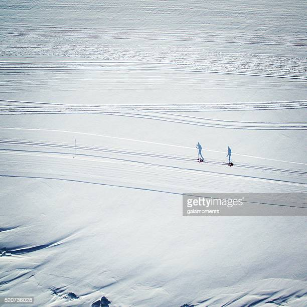 Skiers from above