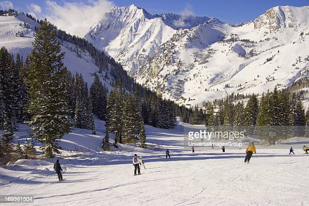 Skiers in Albion Basin at Alta Ski Resort in the Wasatch Mountains of Utah USA with Superior Peak in the background