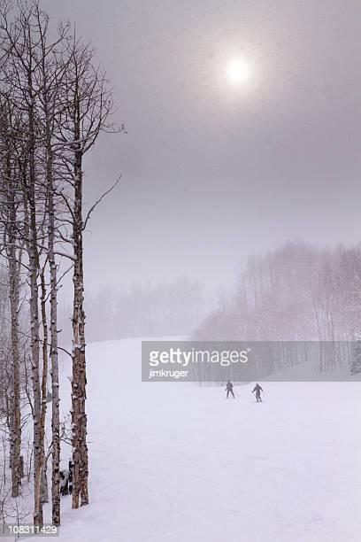 スキーヤーの厚手の降雪で簡単に実行してください。