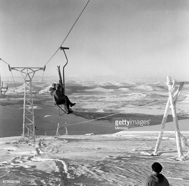 Skiers in the Cairngorms a mountain range in the eastern Highlands of Scotland 3rd January 1962