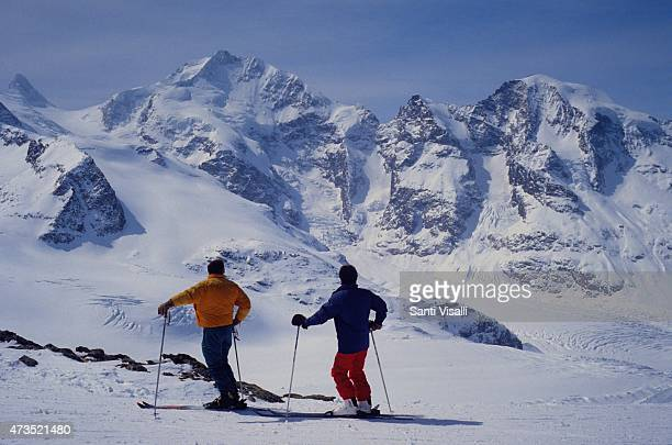 Skiers on April 22 1995 in Diavolezza Switzerland