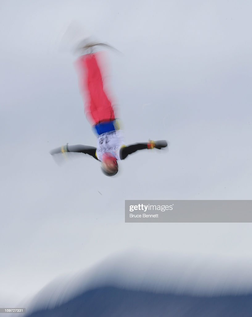 Skiers practice prior to the USANA Ladies' Freestyle World Cup aerial competition at the Lake Placid Olympic Jumping Complex on January 19, 2013 in Lake Placid, New York.