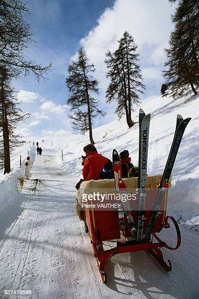 Skiers Riding in HorseDrawn Sled