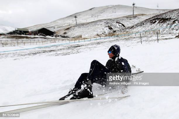 Skiers Sam Cunningham from Perth makes the most of the fresh snow at the Glenshee Ski resort in the Cairngorms