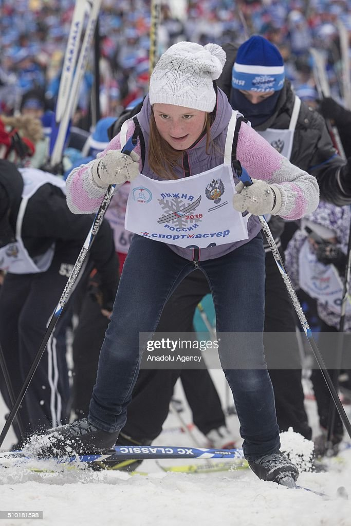 Skiers ski during all-Russian mass ski race 'Ski Track of Russia' at the basis of the Olympic training center 'Planernaya' in Khimki, Russia on February 14, 2016.