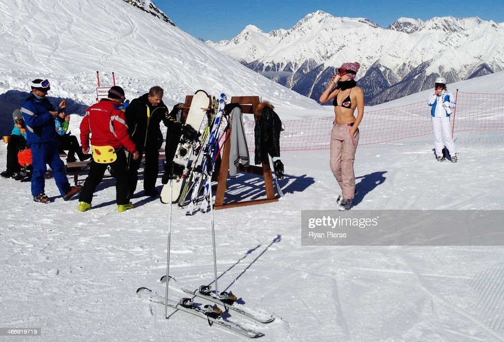 Skiers take a break at Gornaya Karusel Ski Resort on February 5, 2014 in Sochi, Russia.