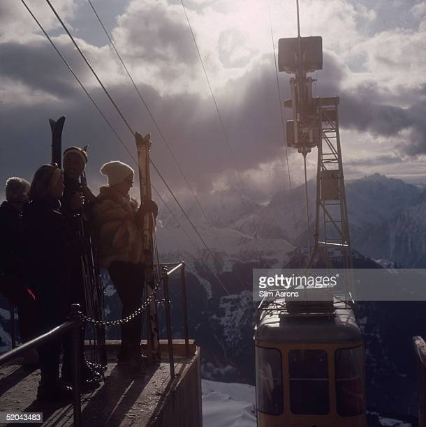 Skiers waiting for the cable car at Verbier in Switzerland 1964