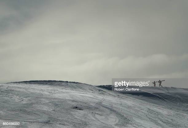 Skiers walk up the summit on September 21 2017 in Mount Buller Australia Australians are enjoying one of the best ski seasons after the best snowfall...