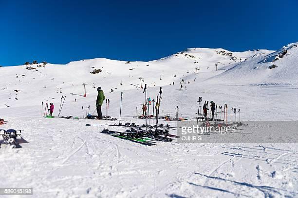 Skies parked at Captains Basin hut and ski field