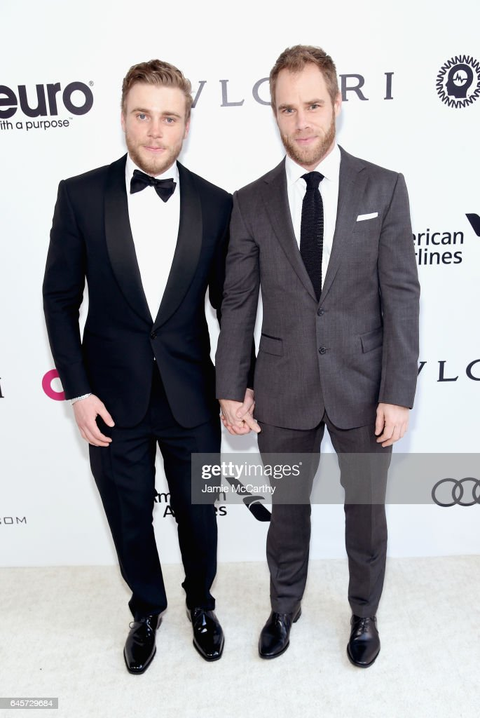 Skiier Gus Kenworthy (L) and Matthew Wilkas attend the 25th Annual Elton John AIDS Foundation's Academy Awards Viewing Party at The City of West Hollywood Park on February 26, 2017 in West Hollywood, California.