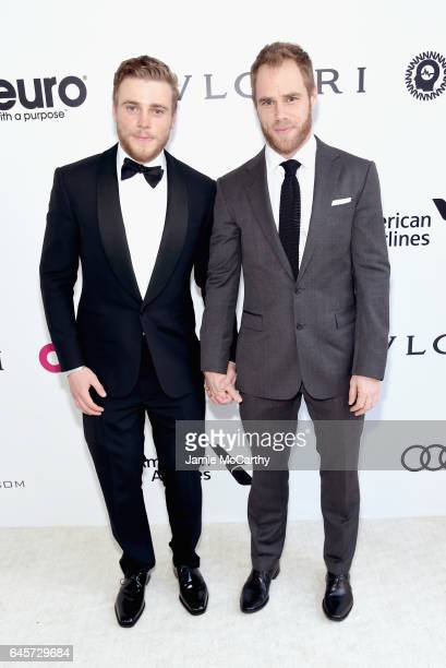 Skiier Gus Kenworthy and Matthew Wilkas attend the 25th Annual Elton John AIDS Foundation's Academy Awards Viewing Party at The City of West...