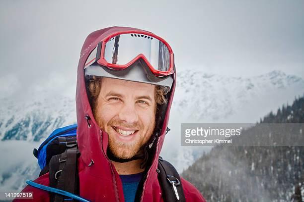 Skiier wearing helmet