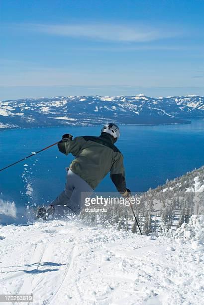 Skiing Above Lake Tahoe