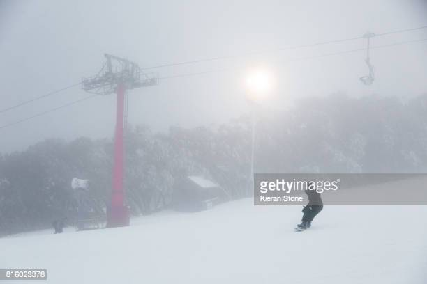Skiing at a resort with foggy conditions
