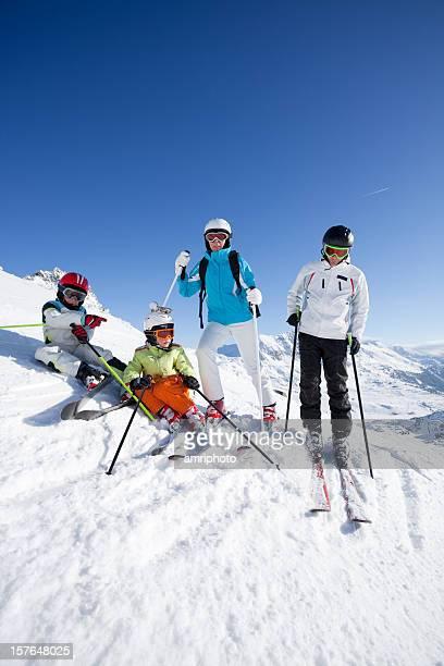 skiing family during short halt