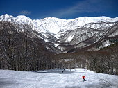 Hakuba Iwatake Snow Field and Mt. Shirouma in Hakuba, Nagano, Japan