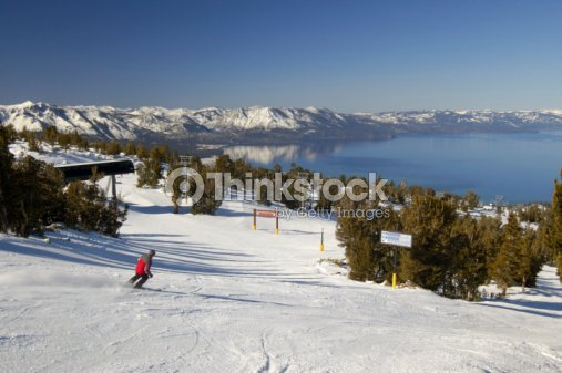 Skiing in Nevada at Lake Tahoe : Stock Photo