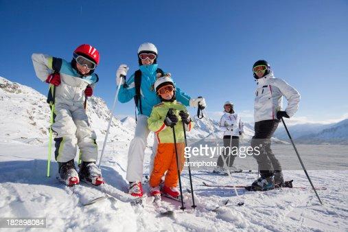 skiing people