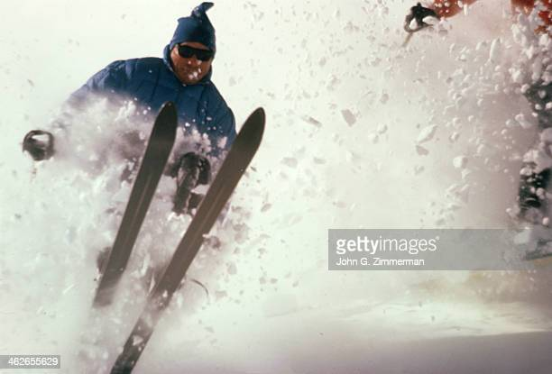 Scenic view of Ted Johnson in action at Alta Ski Area in Little Cottonwood Canyon of Wasatch Mountains Alta UT CREDIT John G Zimmerman