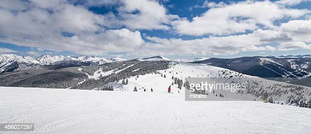 Skiing Slopes with Rocky Mountains in Background