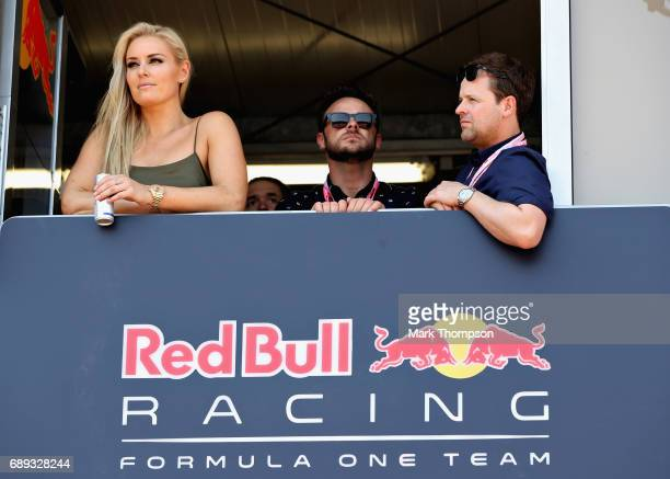 Skiing superstar Lindsey Vonn with TV stars Ant and Dec watch the action from the Red Bull Racing garage during the Monaco Formula One Grand Prix at...