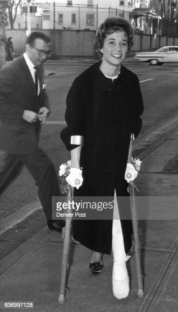 Skiinjured Mrs John Brooks and Mr Brooks arrive at St Martin's Chapel for the recent wedding of Cornelia Mueller and George Gibson Credit Denver Post