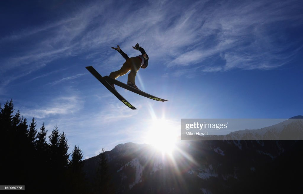 A Ski-Jumper in action during the Men's Ski Jumping Team HS134 at the FIS Nordic World Ski Championships on March 2, 2013 in Val di Fiemme, Italy.