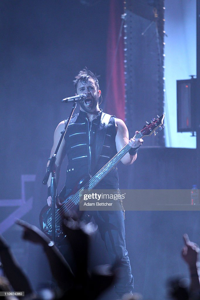 Skillet lead singer and bassist John Cooper performs during the 2011 Avalanche Tour at the Roy Wilkins Auditorium on Saturday, March 26, 2011 in St. Paul, Minnesota.