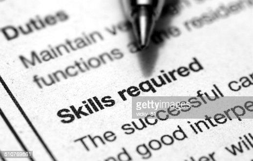 skills required : Stock Photo