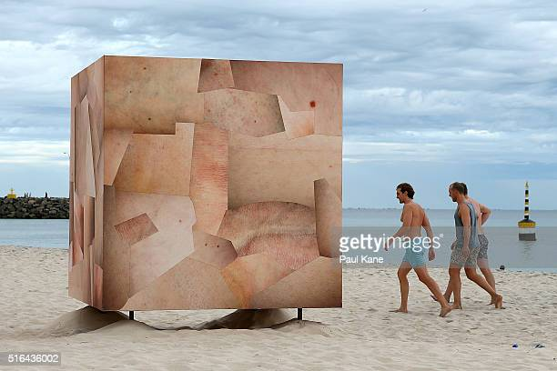 'Skin Cube' by artist Louise Sparr is seen during Sculpture By The Sea 2016 at Cottesloe Beach on March 19 2016 in Perth Australia